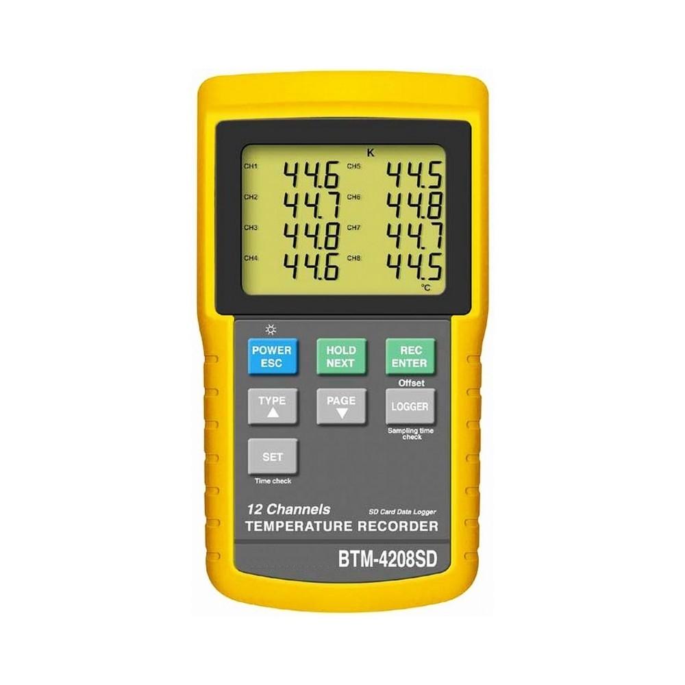 Termómetro termopar de 12 canales BTM-4208-SD